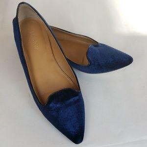 J Crew Royal Blue Velvet Pointy Toe Slip On Flat 7